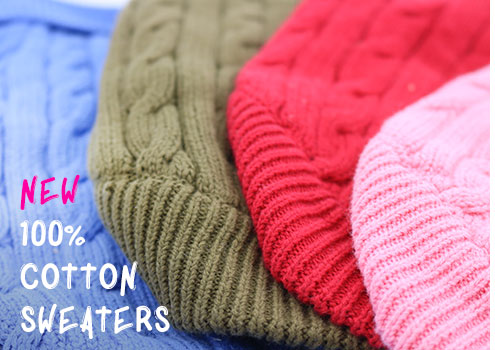 New 100% Cotton Sweaters