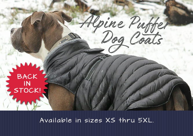 Doggie Design Alpine Puffer Dog Coats Available in Sizes XS thru 5XL