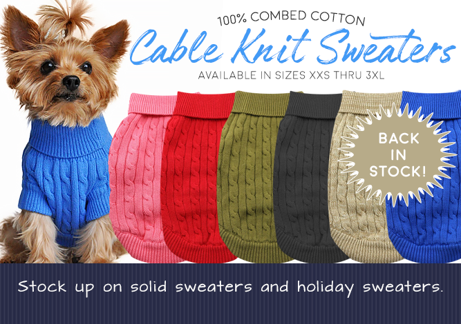 Doggie Design 100% Combed Cotton Cable Knit Sweaters